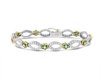 2.50 Ct. Natural Diamond & Emerald Vintage Antique Bracelet In Solid 18k Gold