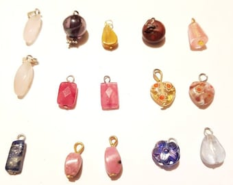 20 small gemstone and glass pendants. Mixed assortment. DIY jewelry projects