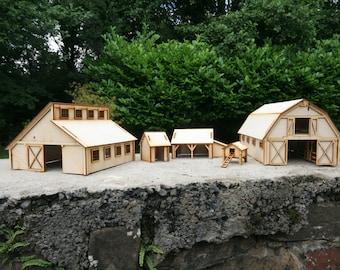 Laser cut Farm Buildings 3mm Ply wood kit