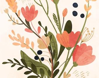 Pink Floral Bouquet  - Vertical Print, floral, feminine, home, decor