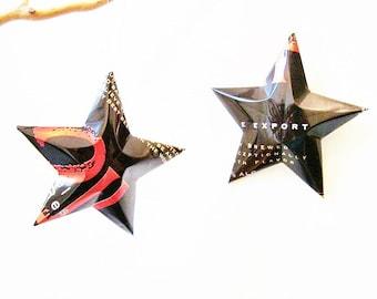 211 Triple Export Malt Liquor Black Beer Stars Christmas Ornaments Aluminum Can Upcycled
