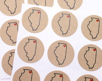 Custom State & City sticker with heart || state pride - with love from - I love my state and city || save the date, wedding invitations