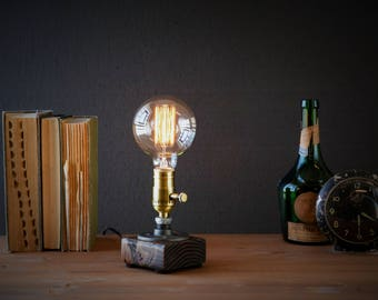 Edison Lamp/Rustic Home Decor/Table Lamp/Industrial Lighting/Steampunk  Light/