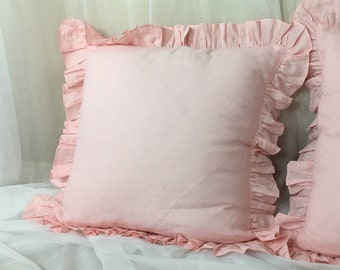 Pink Ruffle Euro Sham Cover, linen ruffle pillow covers, accented euro shams, sham covers, pillow protector