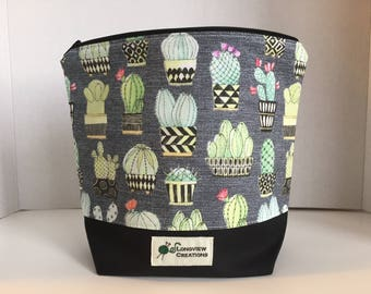 Wedge Bag, Zippered Bag, Knitting Project Bag, Small Project Bag, Sock Size, Cactus