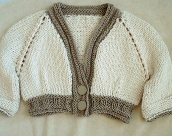 Cropped Cardigan with Three-Quarter Sleeves, Size 6-8, Sm-Med Women Teens, Hand Knit