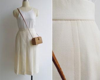 Vintage 70's Cream Wool A-Line Pleated Secretary Skirt XXS or XS