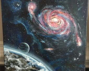 Outer space , galaxy , planets, acrylic painting , contemporary art , wall art .