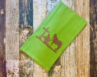 Kitchen Towel - Kneeling Cowboy - Praying Cowboy and Horse - Religious Towel - Embroidered Hand Towel