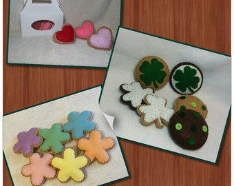 Holiday Themed Felt Cookies, 3 Sets, Valentines Day, St. Patricks Day, Spring Flowers, Felt Food, Pretend Play