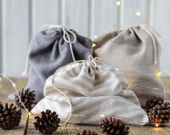Linen bread bag, Travel organizer bag, Lingerie bag, Linen bread storage, Bread keeper, Farm market produce bag, Gift bag, Zero waste