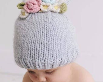 Bunny Hat with Flowers Hand Knit for Baby and Child