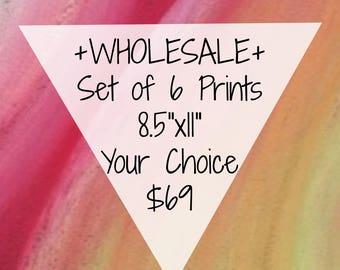Wholesale - Set of 6 Art Prints - Your Choice - Assorted Prints - Wholesale Art Prints - Wholesale Wall Art
