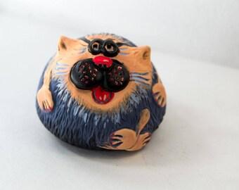 Statuette figurine Cat Sculpture hand-painted Mini Animal Figures Pet Souvenir Home Decor Gift for cat lover