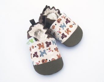 Classic Vegan Puppy Dogs in Brown/ Nonslip soft sole shoes / Made to Order boy / Babies Toddler Preschool