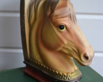 Vintage Ceramic Horse Head Library Bookend Figure
