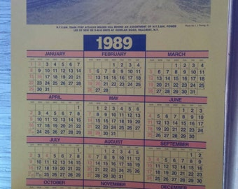 Vintage 1989 Railroadiana. A 1989  Calendar from the NYS&W RY Corp.  Shows a NYS W train attacking Belden Hill. Perfect Cond.No Damage