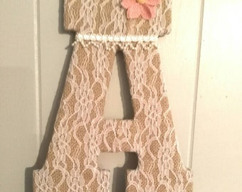 burlap lace wrapped letter letters A to Z nursery wall