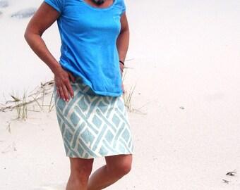 Seafoam-Celadon Lattice Yoga Waist Linen A line Skirt / Summer Skirt  / Maternity / Travel / Vacation / Beach Cover up