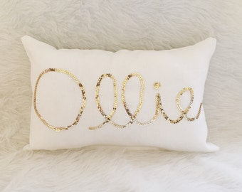 Personalized Gifts- Sequin Name Pillow- Nursery Ideas- Home and Decor- Baby's Room- Nursery Pillow- Personalized Pillow