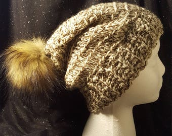 Cream and brown slouch crochet hat with pompom