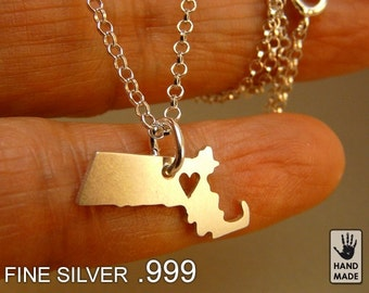 Massachusetts  State Map Handmade Personalized Fine Silver .999 Necklace in a gift box
