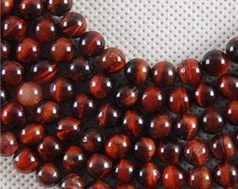Red Tiger Eye Natural Stone Bead 8mm- 1/2 strand