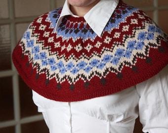 Fair Isle Capelet - PDF knitting pattern.