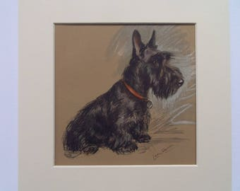 "Highland Terrier ""Scottie"" dog print by Lucy Dawson dated 1935 in 9""x9"" mount ready to frame"