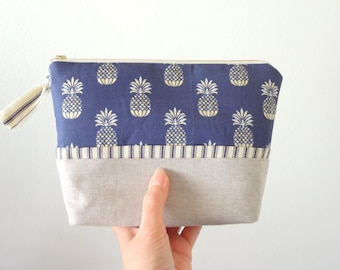 NEW! Pineapple In Blue Cosmetic Pouch, Make-Up Bag, Designer Fabric, Cosmetic Bag, Flat Bottom Pouch