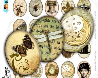 Digital collages VINTAGE 30x40mm oval steampunk clipart romantic for pendant magnet and craft instant download printable paper - ov116