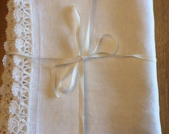 NEW!!! Hand made exclusive linen table runner with crochet borders