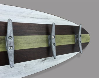 3 Ft Surfboard Coat Rack with 5 Cleats as hooks, Coastal Towel Rack Nautical decor Green and White