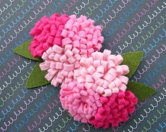 Wool Felt Flower - Pink Collection Pom Pom Trio Flowers - Dimensional Wool Felt Flowers
