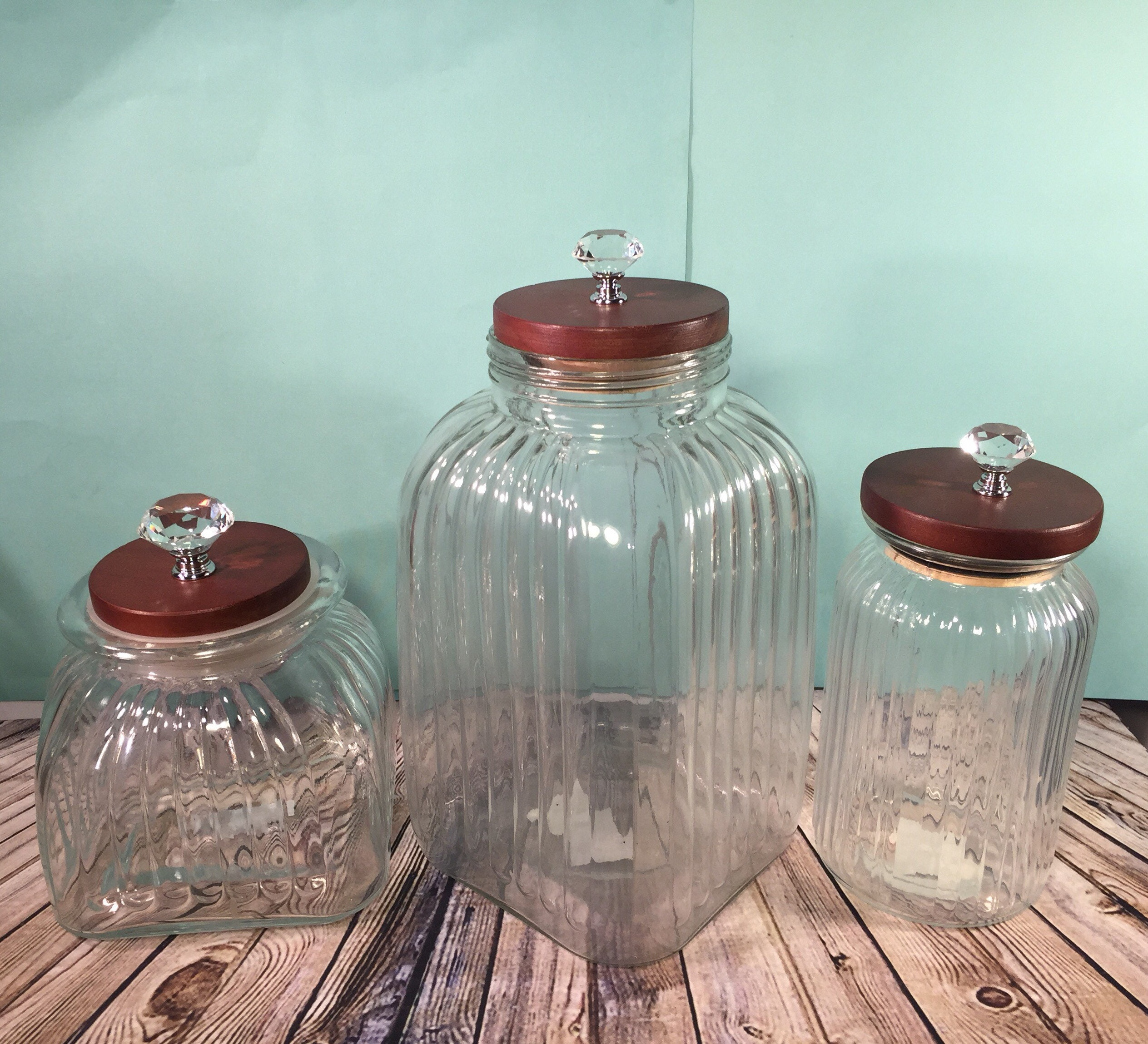 Large Kitchen canister set / clear glass containers / mixed