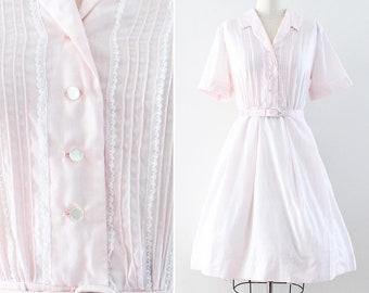 50s plus size dress - 1950s early 1960s blush pink cotton shirtwaist dress - Nelly Don - size XL -