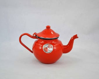 Vintage Enamel Teapot Made In Romania With Label Affixed, Romanian Red Metal Tea Pot With Hinged Lid