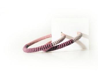 Color Block Hoop Earrings, Crochet Tube Hoops Shades of Purple, crochet hoop earrings