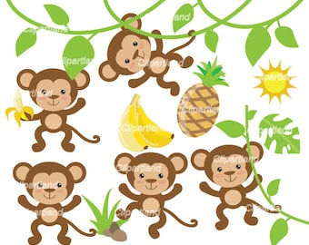 INSTANT Download. CM_13_Monkeys. Cute monkeys clip art. Personal and commercial use.