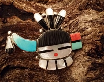 Vintage Zuni Native American signed Pendant/Brooch With Inlaid Mother of Pearl, Carved Black Onyx, Coral and Turquoise