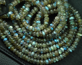 13 Inches Strand, Super Blue Flash Labradorite  Smooth Rondelles Beads Shape 4mm Size