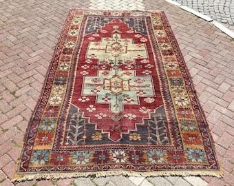 "Area Rug, Vintage hand knotted Rug, 118.5""x66"", red and blue rug, area rug, decorative rug, floor rug, anatolian rug, traditional rug,"
