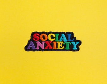 Social Anxiety Patch - Made with Vegan Iron-On Adhesive - Embroidery Sewing DIY Customise Denim Cotton Rainbow