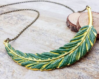 Feather Necklace, Green Feather Pendant Necklace, Woodland Forest Rustic Bohemian Necklace, Boho Necklace, Gift for Her