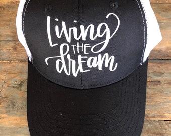 Living The Dream ADULT OR TEEN Girls Trucker Hat Baseball Cap Snap Back