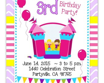 Bounce House Party Invitation, Bounce House Invite, Bounce House Birthday Invitation - custom design for YOU