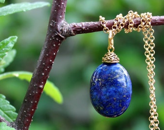 Blue Lapis Stone Pendant Necklace.Sterling Silver Chain.Gold.Statement.Dainty.Beadcap.Bridal.Mother's.Boho.Layering.Summer.Gift. Handmade.