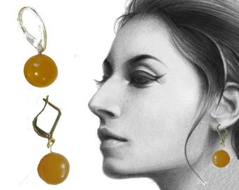 Amber Earrings round beads Natural Baltic 3.1 g. yellow egg yolk butterscotch opaque polished silver, gold color piercing gauge designer