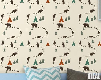 Woodland Bear STENCIL, NURSERY DECOR, Painting Stencil, Repeat Pattern Wall Stencil, Reusable