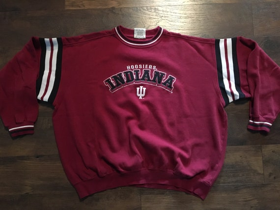 Vintage NCAA Basketball Football Indiana IU Hoosiers Mens Crewneck Red Sweatshirt Sz: 2XL kSfWm6B8
